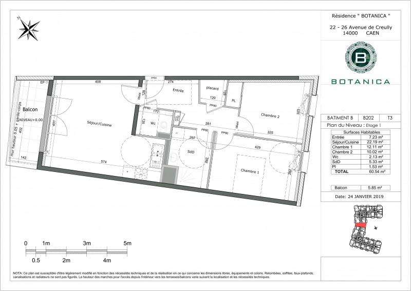 Appartement T3 R 1 Lot Pv B202 Residence Botanica Caen